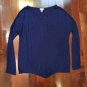 Old Navy Henley Long Sleeve Tunic Top Shirt